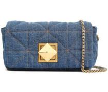 Quilted Denim Shoulder Bag Mid Denim Size --