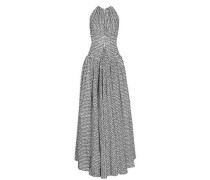 Woman Open-back Flocked Wool-blend Gown White