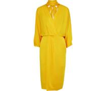 Wrap-effect Pleated Satin-crepe Dress Yellow