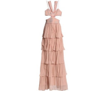 Cutout embroidered crepe-paneled tiered silk-chiffon gown