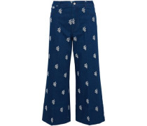 Embroidered high-rise wide-leg jeans