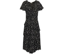 Wrap-effect Ruffled Printed Crepe Dress Black