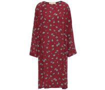Woman Floral-print Silk Crepe De Chine Dress Claret