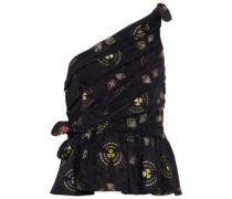 Soraya One-shoulder Knotted Satin-jacquard Top Black Size 0
