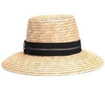 Stevie Grosgrain-trimmed Woven Straw Hat Sand Size ONESIZE