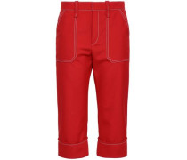 Cropped Woven Tapered Pants Red