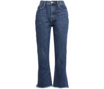 Peacenik Frayed Cropped High-rise Kick-flare Jeans Dark Denim  5