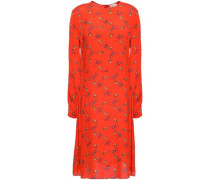 Woman Floral-print Crepe De Chine Dress Tomato Red