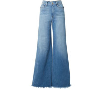 Frayed Faded High-rise Wide-leg Jeans Mid Denim  7