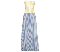 Paneled Striped Jersey And Gauze Coverup Multicolor