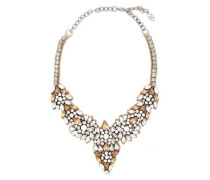 Woman Glam Flowers Silver-tone, Silk-satin And Crystal Necklace Brass
