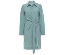 Wrap-effect Stretch-wool Playsuit Grey Green