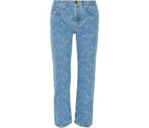 The Original Cropped Mid-rise Printed Straight-leg Jeans Light Denim  4