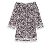 Tammy crochet-trimmed floral-print cotton-voile mini dress