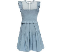 Woman Point D'esprit-paneled Shirred Shell Mini Dress Light Blue