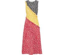 Agnes Ruffle-trimmed Printed Silk Crepe De Chine Midi Dress Multicolor
