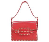 Rockstud Buckled Leather Shoulder Bag Red Size --