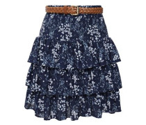 Woman Belted Tiered Floral-print Stretch-jacquard Mini Skirt Navy