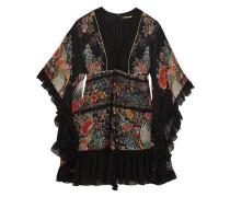 Lace-up ruffled printed silk-georgette mini dress