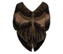 Lace-up Embellished Silk Top Black  /S