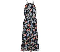 Fluted Floral-print Silk Crepe De Chine Midi Dress Black