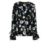 Embroidered Floral-print Silk Top Black Size 0