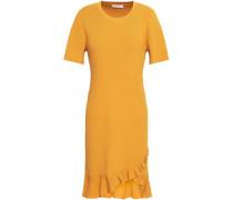 Tulum Ruffle-trimmed Ribbed-knit Mini Dress Marigold