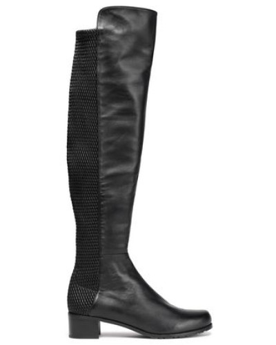Woven and smooth leather knee boots