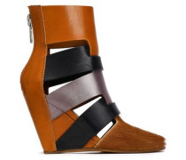 Color-block Calf Hair And Leather Wedge Ankle Boots Tan