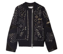 Faux Pearl-embellished Cotton-blend Jacket Midnight Blue