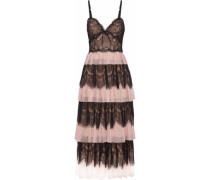 Tiered Paneled Lace And Plissé-tulle Midi Dress Blush Size 12