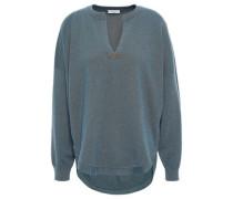 Woman Bead-embellished Cashmere Sweater Petrol