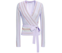 Woman Metallic Striped Ribbed-knit Wrap-top Lavender