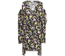 Trento Cold-shoulder Floral-print Silk Crepe De Chine Mini Dress Black