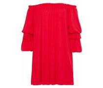 Off-the-shoulder ruffled stretch-jersey mini dress
