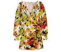 Floral-print crepe mini wrap dress