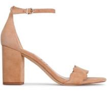 Scalloped Suede Sandals Sand