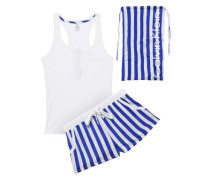 Striped Mousseline And Stretch-modal Jersey Pajama Set White