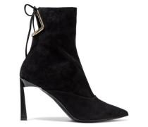 Woman Cutout Suede Ankle Boots Black