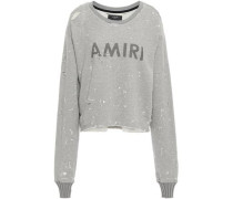 Distressed Painted Cotton And Modal-blend French Terry Sweatshirt Light Gray