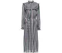 Woman Ruffle-trimmed Checked Organza-jacquard Midi Dress Black