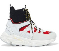 Woman Shell, Mesh And Rubber High-top Sneakers White