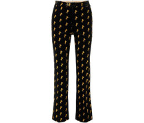 Embroidered Cotton-blend Velvet Bootcut Pants Black