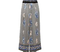 Velvet-trimmed Satin Wide-leg Pants Azure Size 00