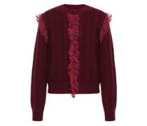 Woman Ruffled Point D'esprit-trimmed Open-knit Wool Sweater Merlot