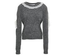 Lace-trimmed Virgin Wool-blend Sweater Dark Gray