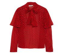 Nami Tie-neck Ruffled Snake-print Silk-chiffon Blouse Red