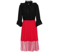 Pleated Paneled Crepe De Chine And Velvet Dress Black