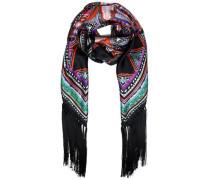 Fringed printed silk scarf