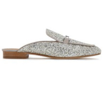 Glittered Leather Slippers Silver